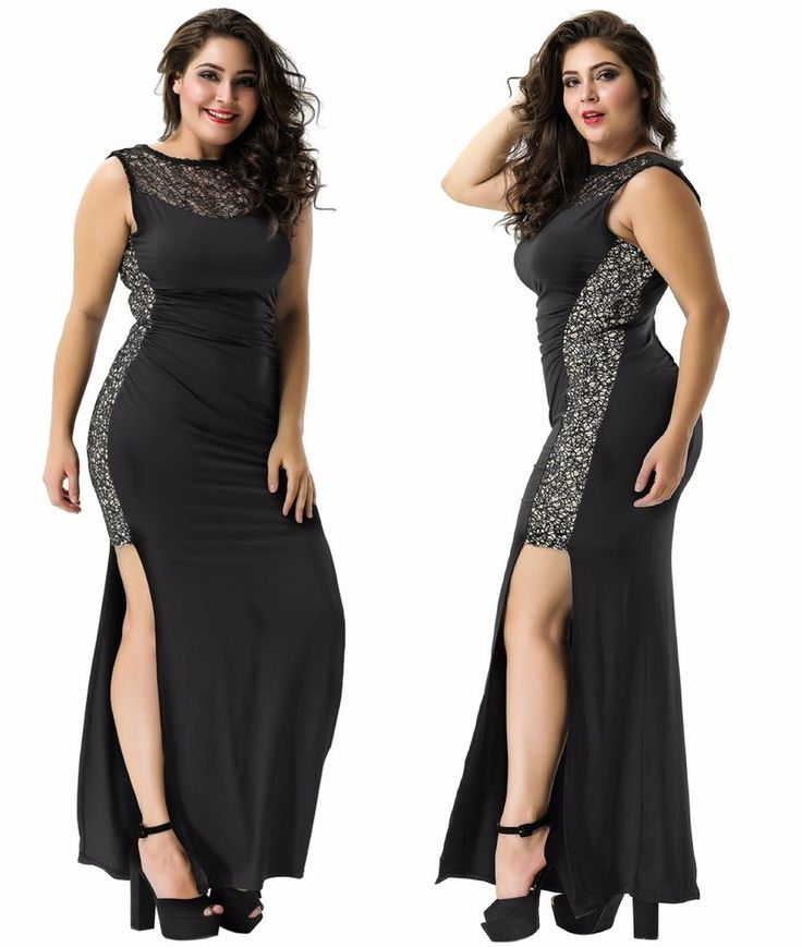Plus Size Ruffled Women's Black Sequin Lace Maxi Evening Formal Party Dress  | eBay