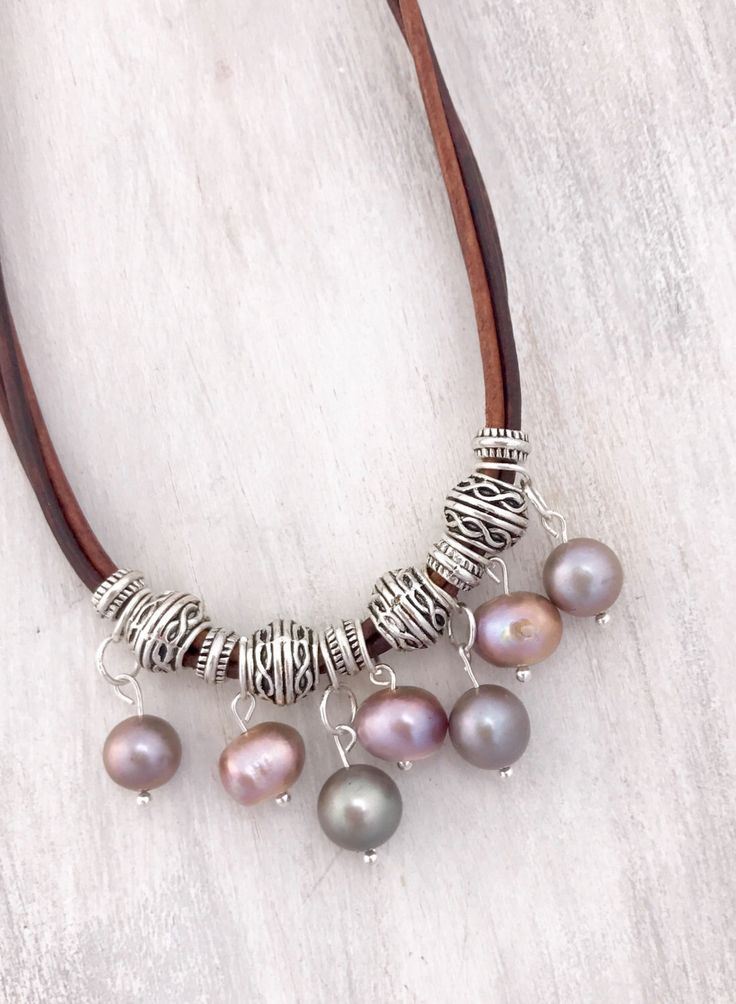 A personal favorite from my Etsy shop https://www.etsy.com/listing/501843401/leather-pearl-necklace