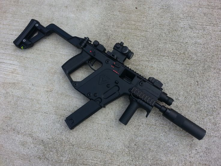 KWA Kriss Vector GBB SMG: Popular Compact Ambidextrous Design NS2 Gas System - Semi, 2 Burst, Auto Function - FPS: 350+FpS  - Mag Cap: 49 Rounds - Hephaestus Recoil Power Kit - Angry Gun Power Up Silencer - Night Evolution Kriss Vector Tactical Light - Primary Arms Micro Dot With Fixed Base -  AaN: Miracle Barrel 6.03 Barrel - Premium Internal Suite (*springs, gears, Wiring, 8mm bearings, Hop Up, etc) - RHOP - Angry Gun Steel Flash Hider -Full Shim Job - Primary Arms Micro Dot