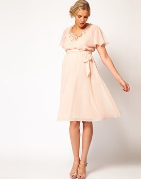 """$35.61 - ASOS Maternity Fluted Sleeve Midi Dress With Embellishment (is """"oyster"""" really pink? hmmm...)"""