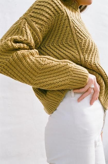 MICAELA GREG BEVEL SWEATER IN OCHRE