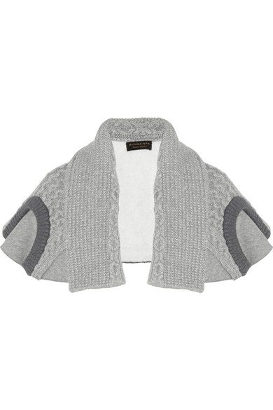 Burberry - Cotton-blend Jersey And Cable-knit Cape - Gray - one size