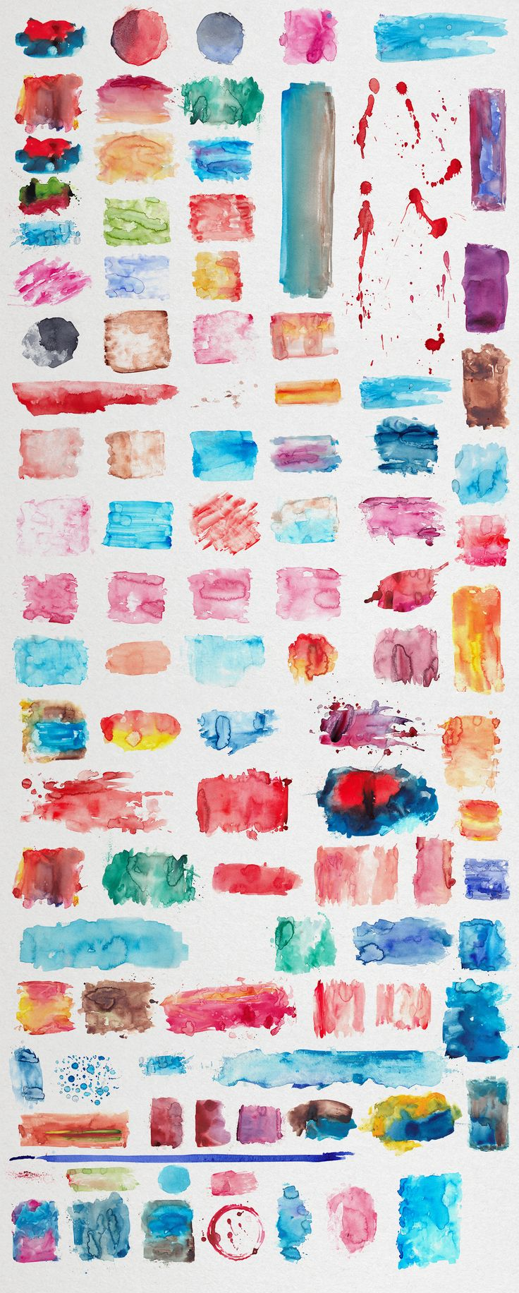 Watercolor Textures:  This item includes over 100 unique and handmade watercolor textures. All of them painted and scanned in high resolution. You can create awesome watercolor themed designs. Affordable price for awesome work. Ready for using with any canvas size and format. For prints, logos and any graphic design works.