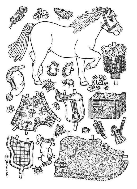 KLows pony paper doll coloring page