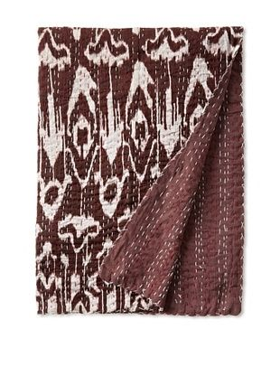 51% OFF Ikat Bed Cover (Burgundy/White)