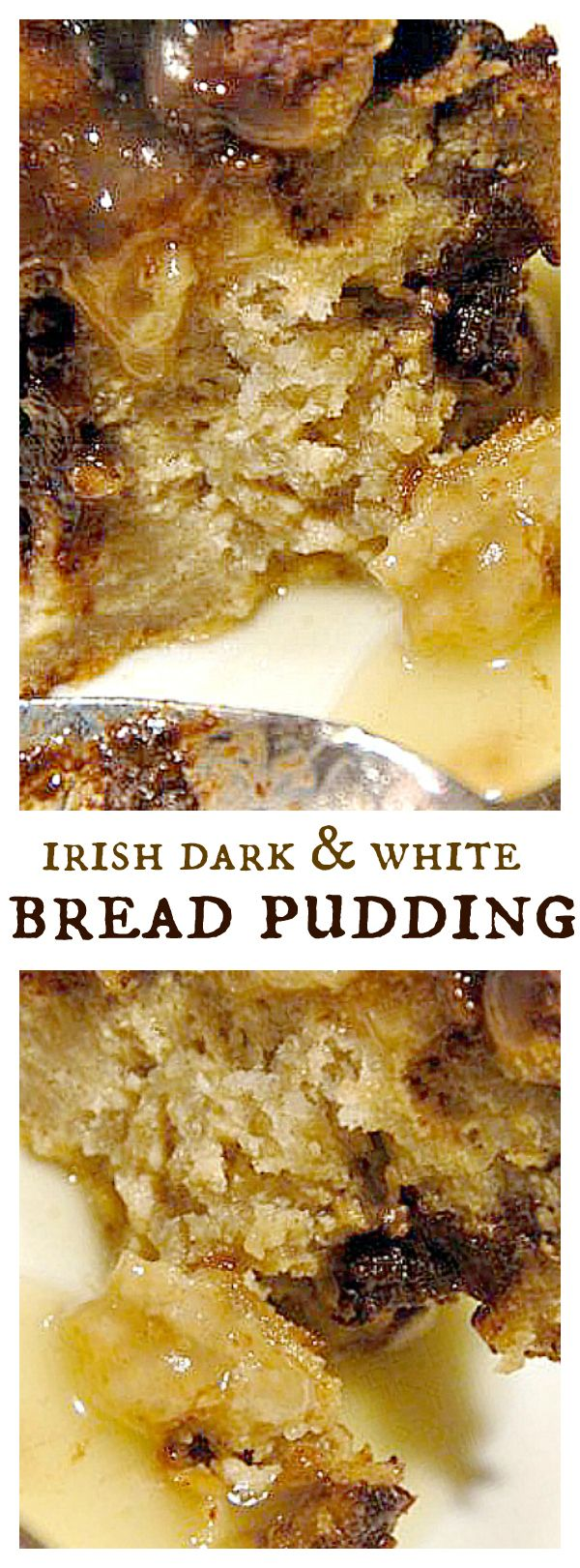 Irish Dark & White Bread Pudding (with chocolate and white chocolate), perfect for the holidays!