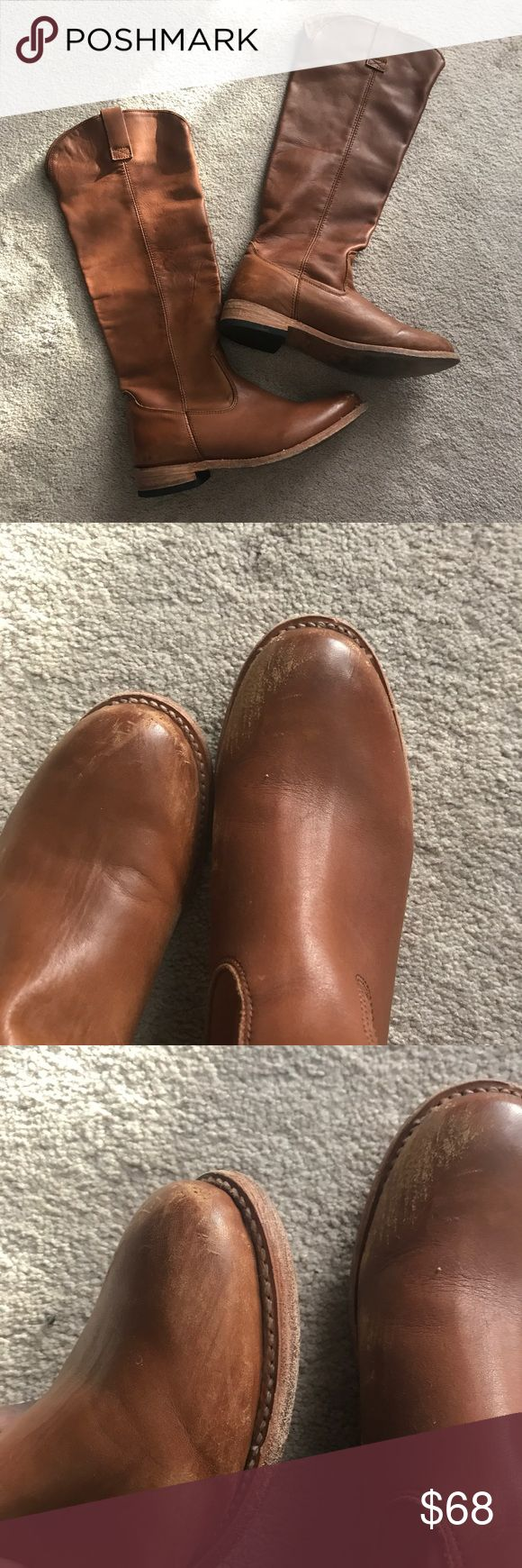 Cognac Riding Boots Great Quality! It feels like real leather but I'm not defiantly sure. Has some wear(see pictures) Shoes