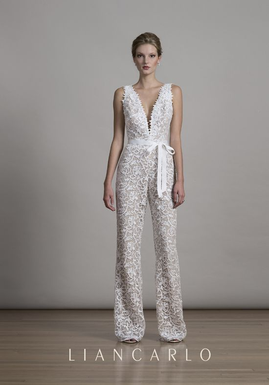 Lace jumpsuit with plunging v-neckline | Liancarlo 6875 | http://trib.al/ZKrUdyP
