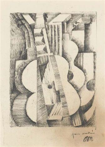 pencil Composition avec guitare by Jean Metzinger