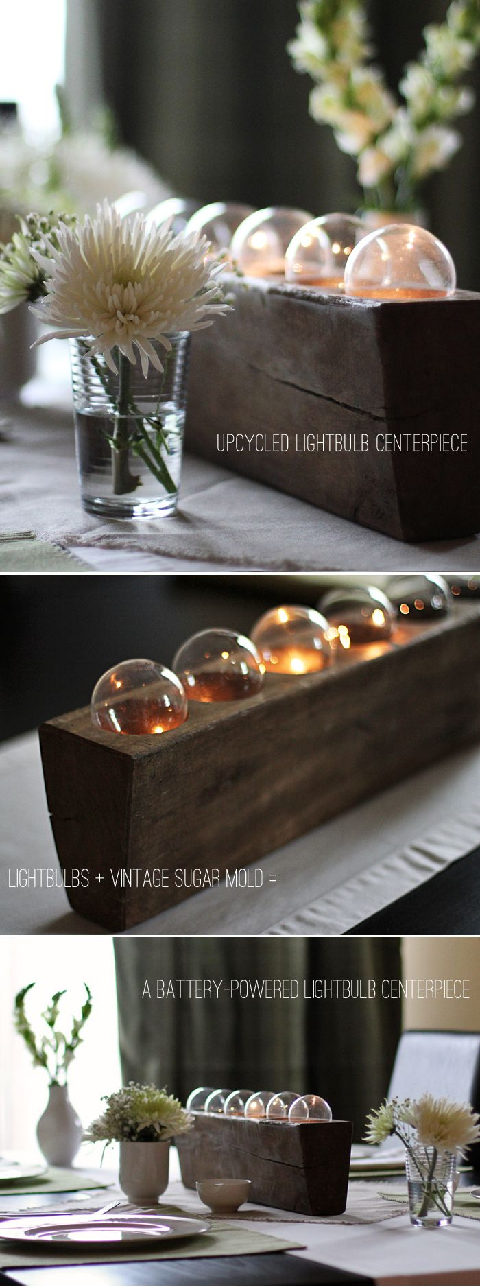Upcycled Lightbulb Centerpiece.  Not the best tutorial, but the battery powered lights look very industrial and cool.  Or maybe very farm/country.  Could be either.