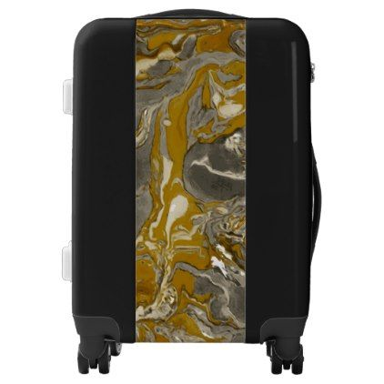 Brown and gray Marble texture Liquid paint art Luggage - marble gifts style stylish nature unique personalize