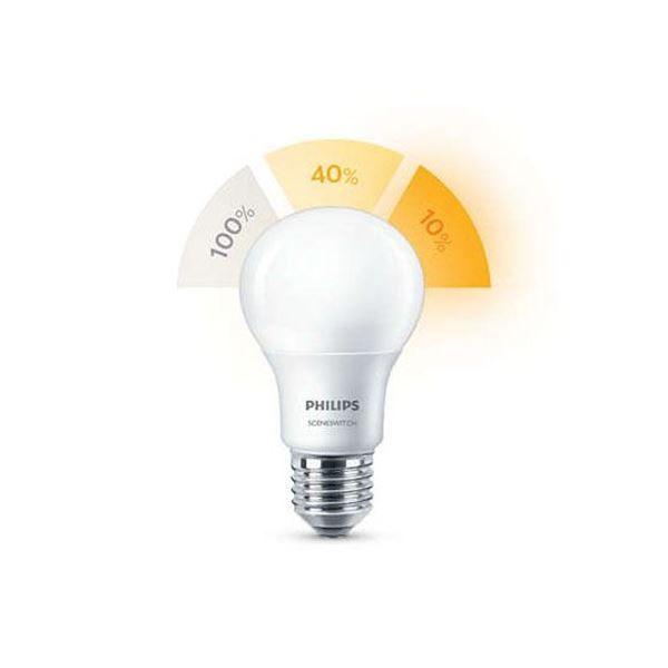 Bec LED Philips Scene Switch E27 A60 http://www.etbm.ro/becuri-led