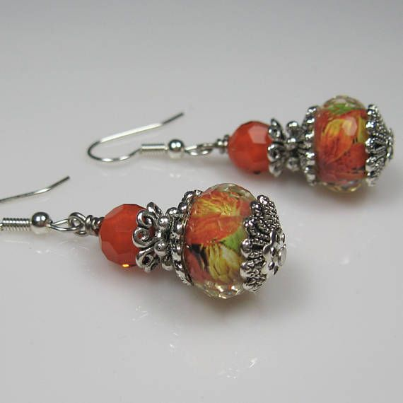 Orange green yellow earrings surgical steel earrings nickel
