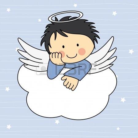 Engel vleugels op een wolk. Wenskaart Stock Illustratie
