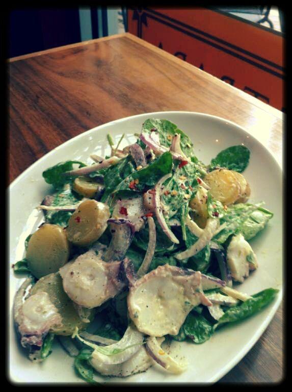Tonight at PPS Cook - Chilled octopus, new potatoes, local radish, red onion & arugula insalata with pesto aioli, chilli & lemon.