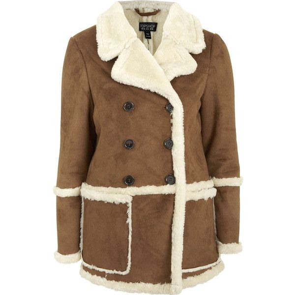 TOPSHOP Faux-Shearling Car Coat ($150) ❤ liked on Polyvore featuring outerwear, coats, jackets, topshop, tan, sherpa coat, faux shearling coat, brown coat, topshop coat and car coat