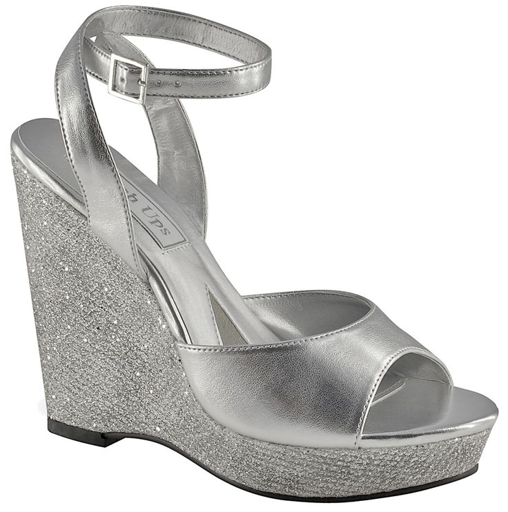 Silver Touch Ups Viviana Bridal Shoes 55 99 Feminine Wedges With A Glittered Platform Sole And