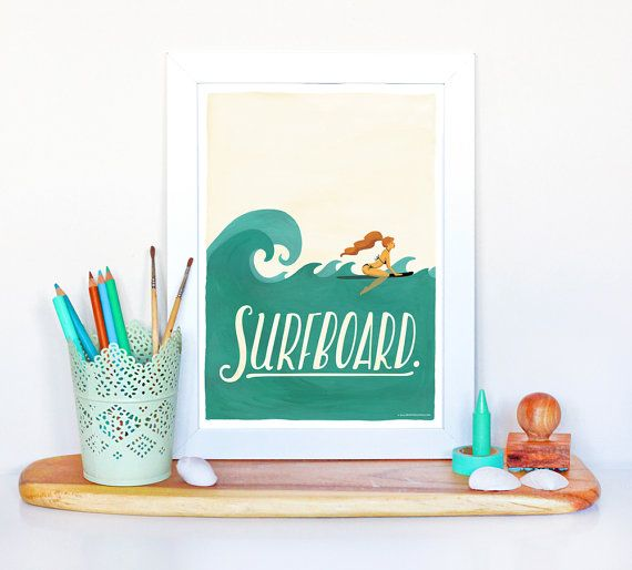 Surfboard Typography Poster Pop Illustration Music by DrawMeASong