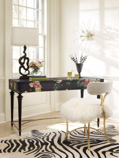 "Cynthia Rowley""Fleur de Glee"" Desk and ""Curious"" chair with faux sheepskin throw.#HookerFurniture #CynthiaRowley"