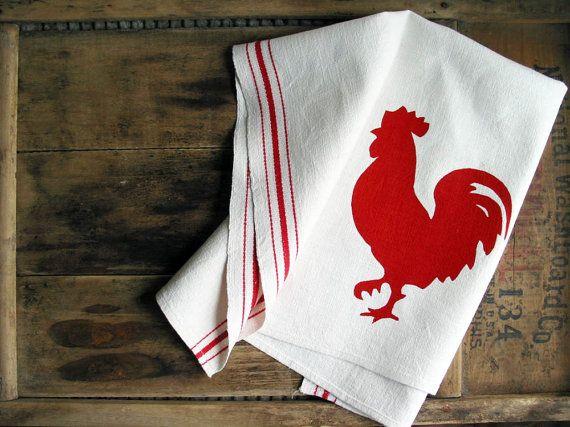 Vintage Linen Kitchen Towel Red Rooster Screenprint Rustic Farmhouse Dishtowel Hostess Gift