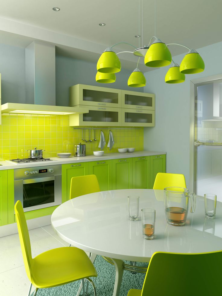 Modern Kitchen In Green Color Inspirations Amazing Green Kitchen Design With Light Green Cabinets And Lime Green Tiles Backsplash Also White Kitchen