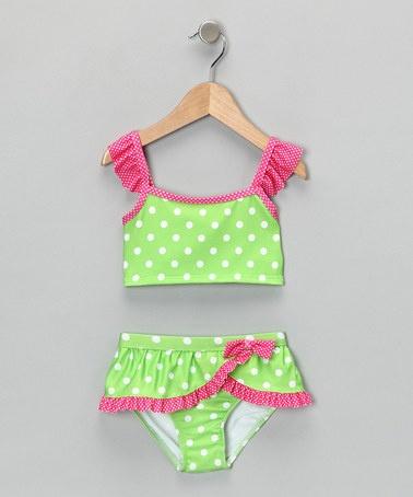 Green & Pink Polka Dot Tankini - Infant, Toddler & Girls by Penelope Mack: Swimwear on #zulily today $11.99