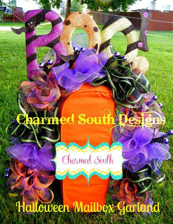 halloween ruffle deco mesh mailbox garland love this - Deco Mesh Halloween Garland