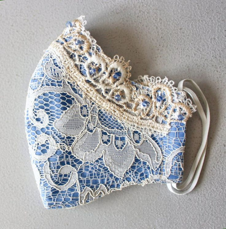 Fancy face mask fabric lace mask sky blue summer day