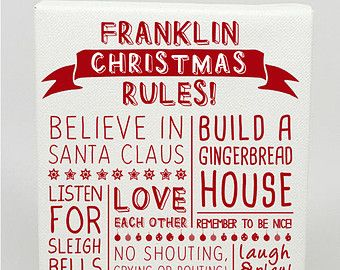 CANVAS PRINT - Family Christmas Rules Personalised Word Art - Various Sizes - Fully Customisable Typography