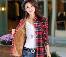 Tops Blusa Camisa Femininas otoño invierno cálido algodón de manga larga de terciopelo grueso mujeres de Camisa a cuadros de franela camisas de la oficina(China (Mainland))