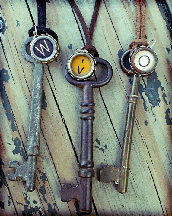 Design Your Own Vintage Typewriter Key & Large Skeleton Key Necklace-Personalized Gift-Initials-Recycled-Letters-Numbers: Houses Doors