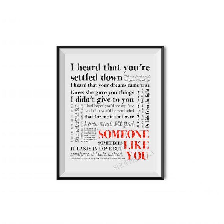 Adele, Someone like you, Motivation, Fashion, Inspirational print, Motivational quote, Art print, Typography von ShopperellaShop auf Etsy