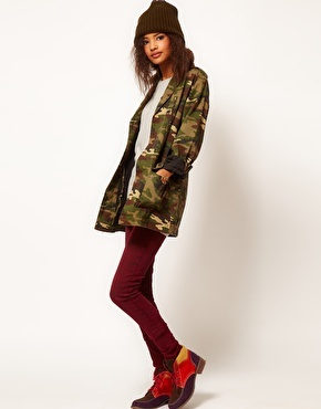 Enlarge ASOS Army Camo Jacket With Detachable Fur Trim Collar
