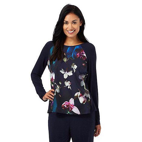 B by Ted Baker Navy floral print 'Midnight Bloom' long sleeve pyjama top | Debenhams