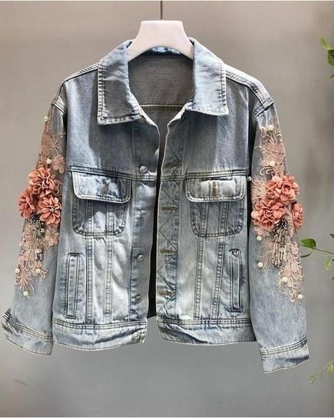 64d5b32a6 3D Embroidered Flower Pearl Bead Denim Jacket in 2019   Denim ...