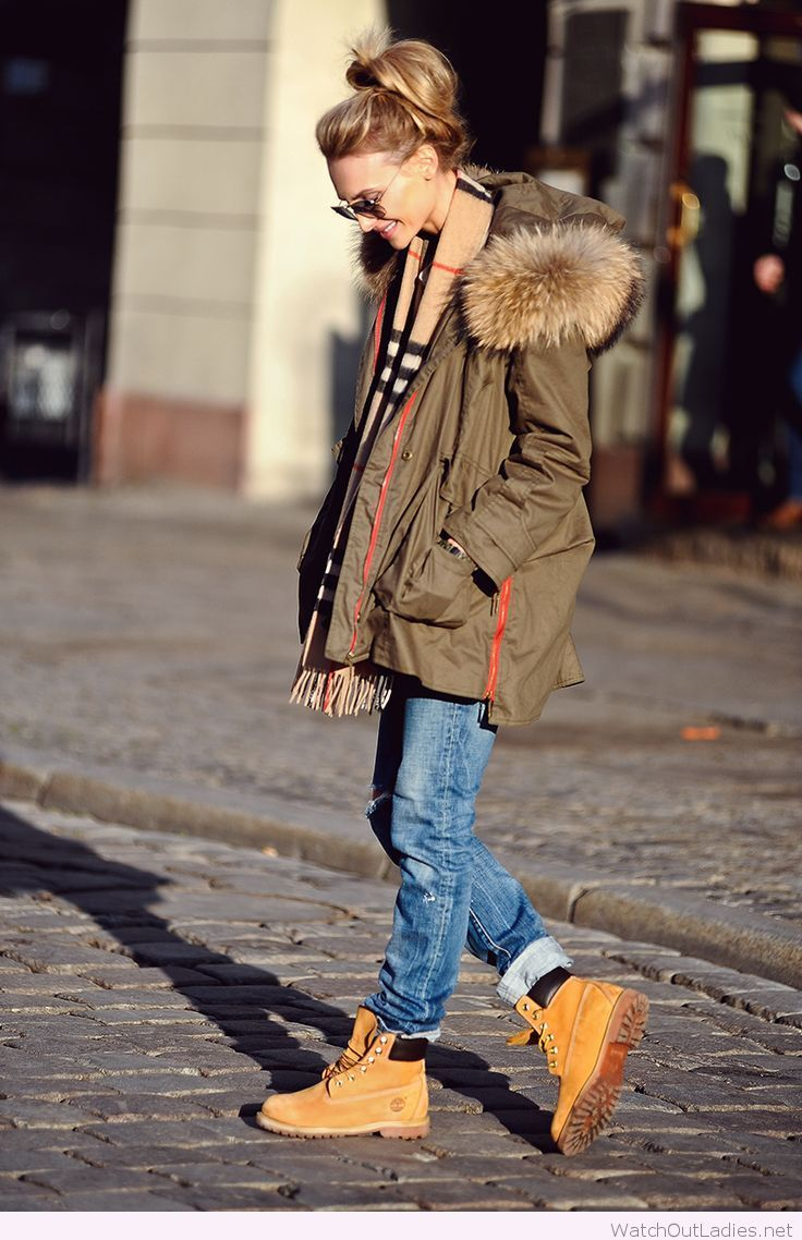 Timberland boots, jeans and olive jacket