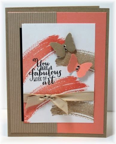 The card - stamped images are from SU.  Colors are white,  kraft and cantaloupe.  Butterflies are Martha Stewart punch.