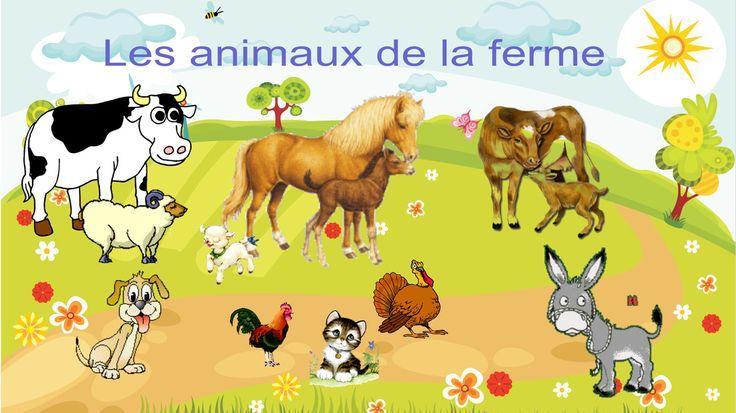 Les animaux de la ferme. Animation en ligne: noms, sons, verbes