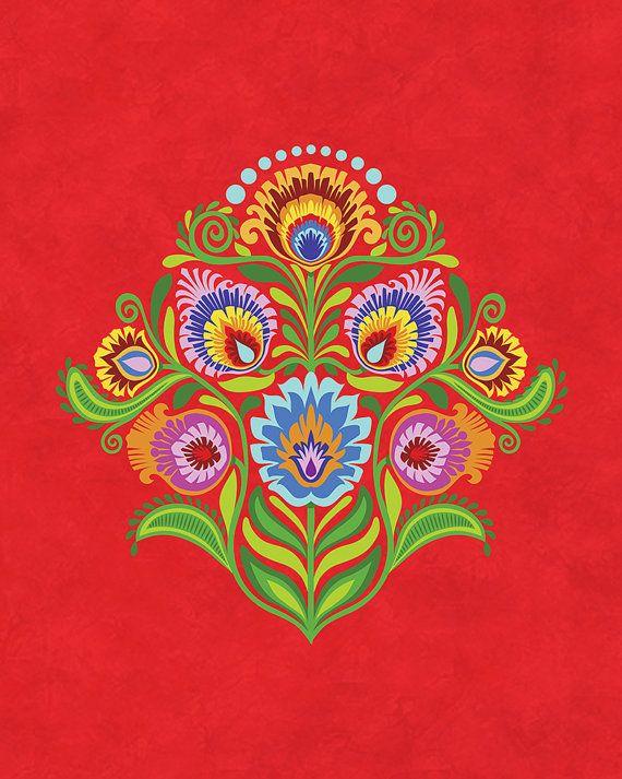 Wycinanki Giclee Folk Art Print Celebrate Folk Colors by Groovity, © Mary Tanana 2014