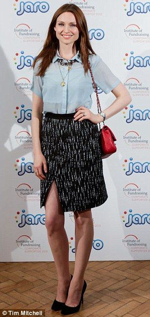 Sophie Ellis Bextor - collared blouses, necklace, pencil skirt and red bag