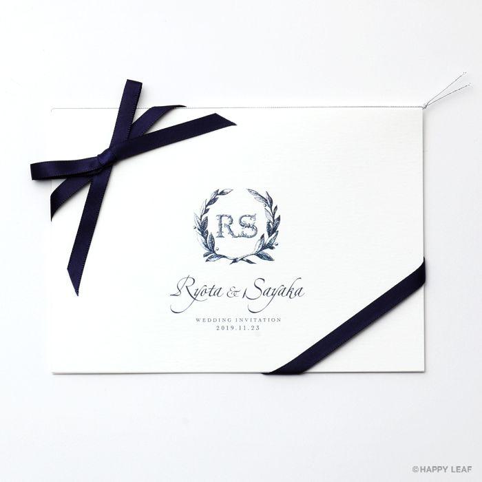 結婚式 招待状 Laurel / ネイビー リボン-ネイビー 1
