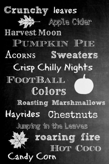 Free fall chalkboard printable.  Available in standard printer paper size and poster size