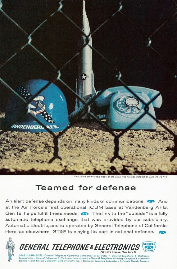 Vintage Telephone Ad - General Telephone Electronics Vandenberg Air Force Base - GTE Gen Tel Rotary Phone - Illustration Print Wall Decor