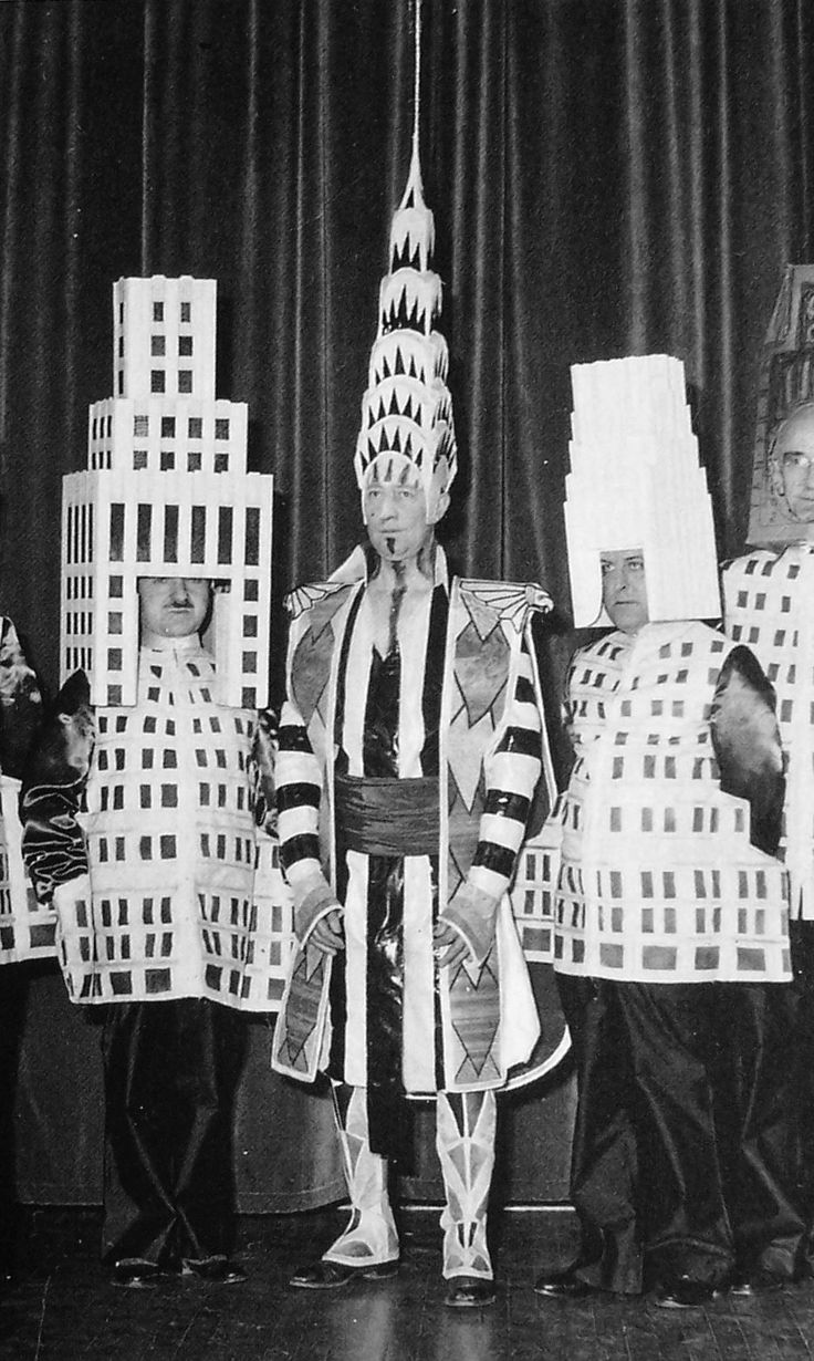 Architects dressed as their most famous buildings: Ely Jacques Kahn (Squibb Building), William Van Alen (Chrysler Building), Ralph Walker (1...