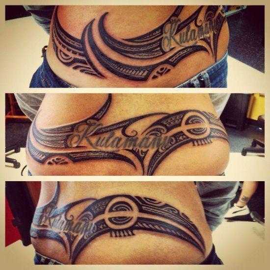 Female tattoo of hawaiian samoa design pattern on lower back stomach tribal pinterest - Tatouage ventre femme ...