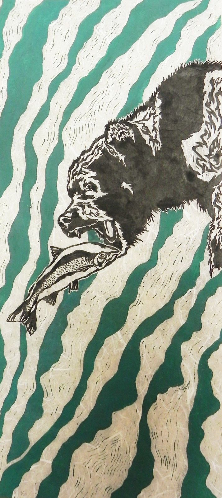 Co color art printing alaska - Grizzly Bear Alaska Salmon Fish Trout Limited Edition Block Print By K Grey