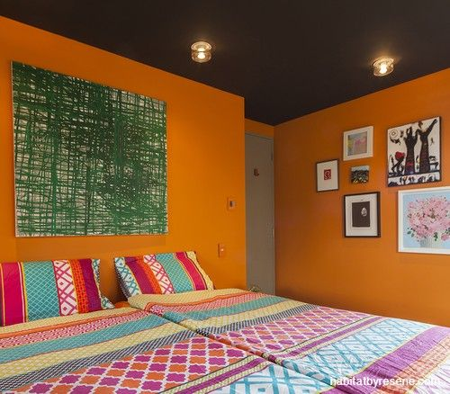 Love orange? You'll love this bedroom.