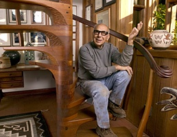 Sam Maloof, famous wood worker, in his beautiful home. Rancho Cucamonga CA