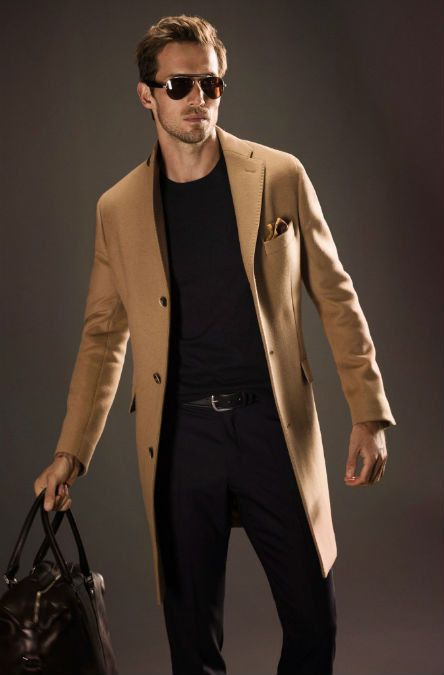 Camel Hair Fitted Coat, Black Sweater and Jeans, by Massimo Dutti. Men's Fall Winter Fashion. Gamine?