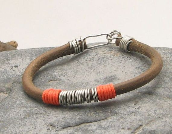 FREE SHIPPING.Unisex leather bracelet. Natural leather cord and silver plated wire, primitive hand made clasp
